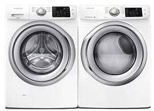 "Samsung Appliance White Front Load Laundry Pair with WF42H5200AW 27"" Washer and DV42H5200EW 27"" Electric Dryer"