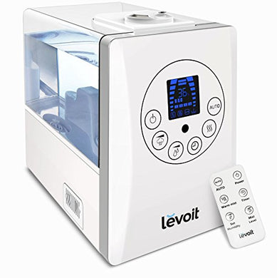 Levoit Humidifiers Vaporizer, Warm and Cool Mist Ultrasonic Air  Bedroom Humidifier with Remote, 6L Capacity for Large Room Home Babies with No Noise , Waterless Auto Shut-off
