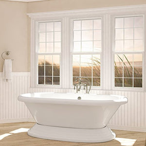 Luxury 72 inch Freestanding Tub with Vintage Tub Design in White, includes Pedestal Base and Brushed Nickel Drain, from The Eastchester Collection