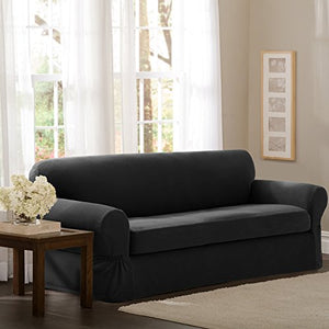 Maytex Pixel Stretch 2-Piece Sofa Slipcover, Charcoal