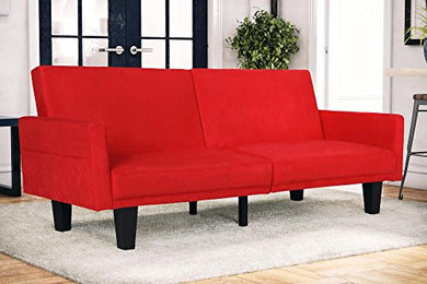 DHP Metro Split Modern Futon with Storage Pocket, Upholstered in Microfiber, Multifunctional, Red