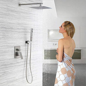 Esnbia Luxury Rain Shower Systems Wall Mounted Shower Combo Set with High Pressure 12 Inch Square Rain Shower Head and Handheld Shower Faucet Set Brushed Nickel