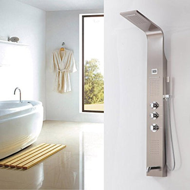 BL- Brushed Nickle Shower Panel Bath Tub Shower Set Rainfall & Waterfall Shower Head Wall Mounted