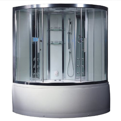 Ariel Platinum DA324HF3 White Steam Shower and Whirlpool Bathtub Corner Unit