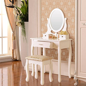 Elegance Vanity Makeup Table Set with Stool & 3 Drawers, Oval Mirror ,White