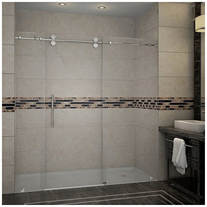 "Aston SDR978-CH-72-10 Langham Completely Frameless Sliding Shower Door in Chrome Finish, 72"" x 75"""