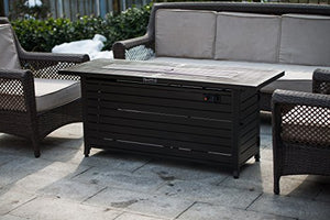 Legacy Heating Rectangular Fire Pit Table, Mocha powder coated finish