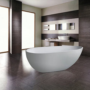 MAYKKE Naples 67 Inches Modern Oval Acrylic Bathtub Freestanding White Tub in Bathroom cUPC certified, XDA1406001