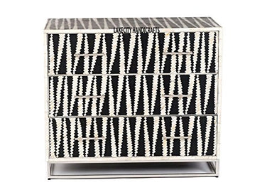 Lakecity Bone Inlay Chest of Drawers Black & White with Modern Pattern