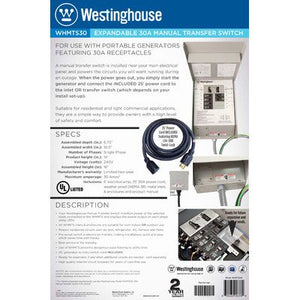 Westinghouse WHMTS30A 210052 30 Amp Manual Transfer Switch