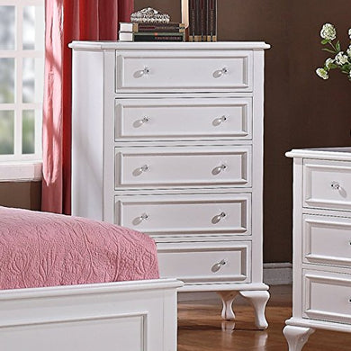 5 Drawer Tall Dresser, Spacious Storage Chest, Durable Wood Construction, Practical, Crystal Like Knobs, Perfect for Nursery, Bedroom Furniture, White Color + Expert Guide