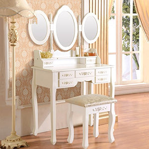 Elegance Vanity Table Set 3 Folding Mirror Dressing Table with Padded Stool & 7 Drawers, White