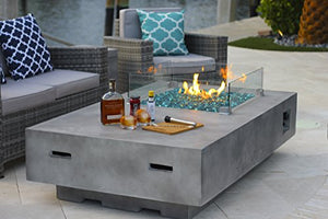 "65"" Rectangular Modern Concrete Fire Pit Table w/ Glass Guard and Crystals in Gray by AKOYA Outdoor Essentials (Caribbean Blue)"