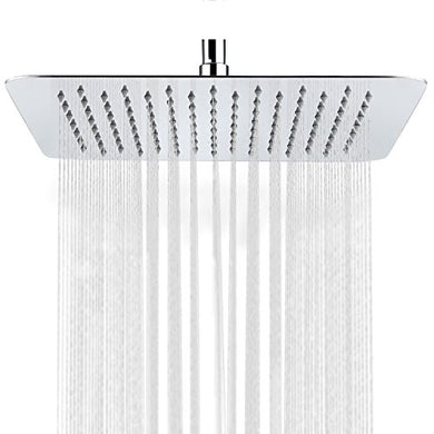 SR SUN RISE Luxury 12 Inch Large Square Stainless Steel Shower Head High Pressure Rainfall Showerhead Ultra Thin Water Saving Polished Chrome Finish 2.5 Gpm
