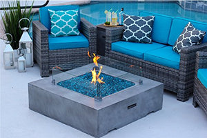 "42"" x 42"" Square Modern Concrete Fire Pit Table w/ Glass Guard and Crystals in Gray by AKOYA Outdoor Essentials (Amber)"