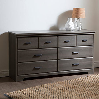 South Shore Versa 6-Drawer Double Dresser for Bedrooms, Hallways or Living Rooms, Gray Maple