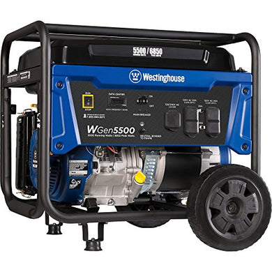 Westinghouse WGen5500 Portable Generator - 5500 Rated Watts & 6850 Peak Watts - Gas Powered - CARB Compliant - Transfer Switch Ready