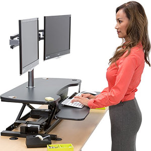 "VersaDesk Power Pro - 36"" Electric Height Adjustable Standing Desk. Power Desk Riser with Keyboard Tray, Black"