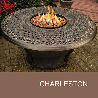 TK Classics FP-CHARLESTON-KIT Charleston Round Cast Top Gas Fire Pit Table, 48