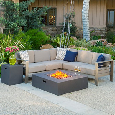 Crested Bay Outdoor Aluminum Framed Sectional Sofa Set with White Fire Table (Khaki with Grey Fire Table)