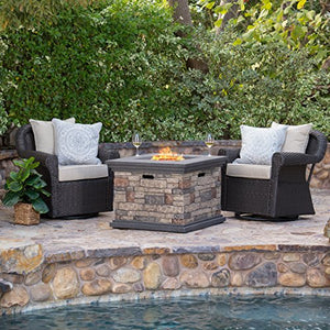 Augusta Patio Furniture ~ 3 Piece Outdoor Wicker Swivel Rocker and Propane (Gas) Fire Table (pit) Set