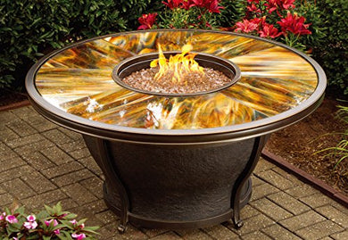 Oakland Living Moonlight Round Gas Firepit Table with Burner System and Aluminum Frame, Antique Bronze