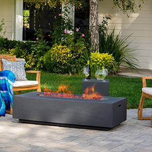 Jaxon Outdoor Fire Table with Lava Rocks & Tank Holder (Dark Grey)