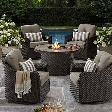 All-Weather Wicker Outdoor Patio LP Gas 5pc FIREPIT Chat Seating Set