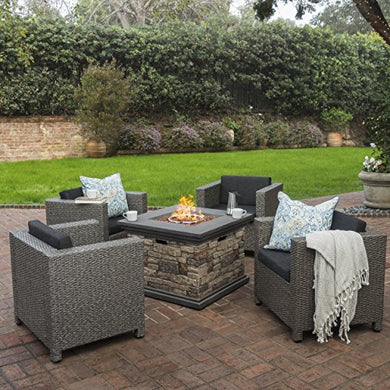 Livingston Outdoor 4 Pc Club Chair Set w/Water Resistant Cushions & Stone Firepit (Stone)