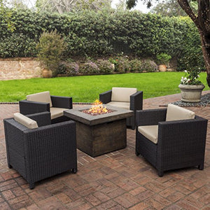 Livingston Outdoor 4 Pc Club Chair Set w/Water Resistant Cushions & Stone Firepit (Brown)