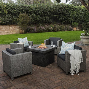 Livingston Outdoor 4 Pc Club Chair Set w/Water Resistant Cushions & Stone Firepit (Grey)