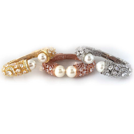 Made to Order - MO9 | Adjustable Pearl and Stone Bangle Cuff