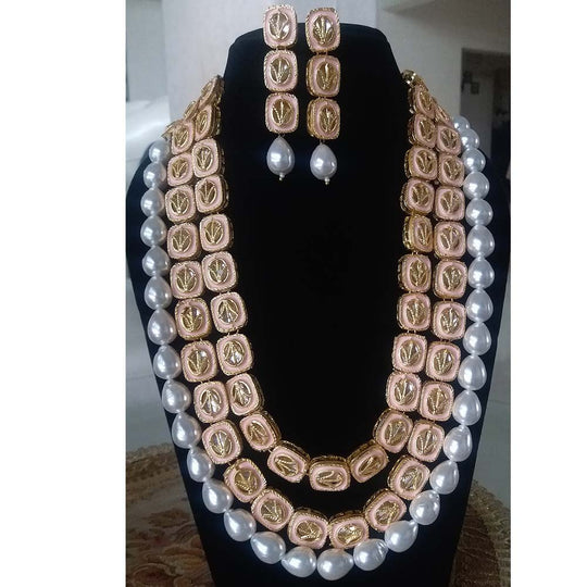 Made to Order - MO7 | Peach Double Line Fancy Kundan Long Necklace