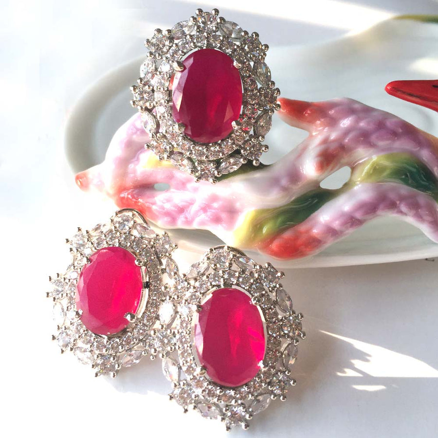 Red Ring Earring Set