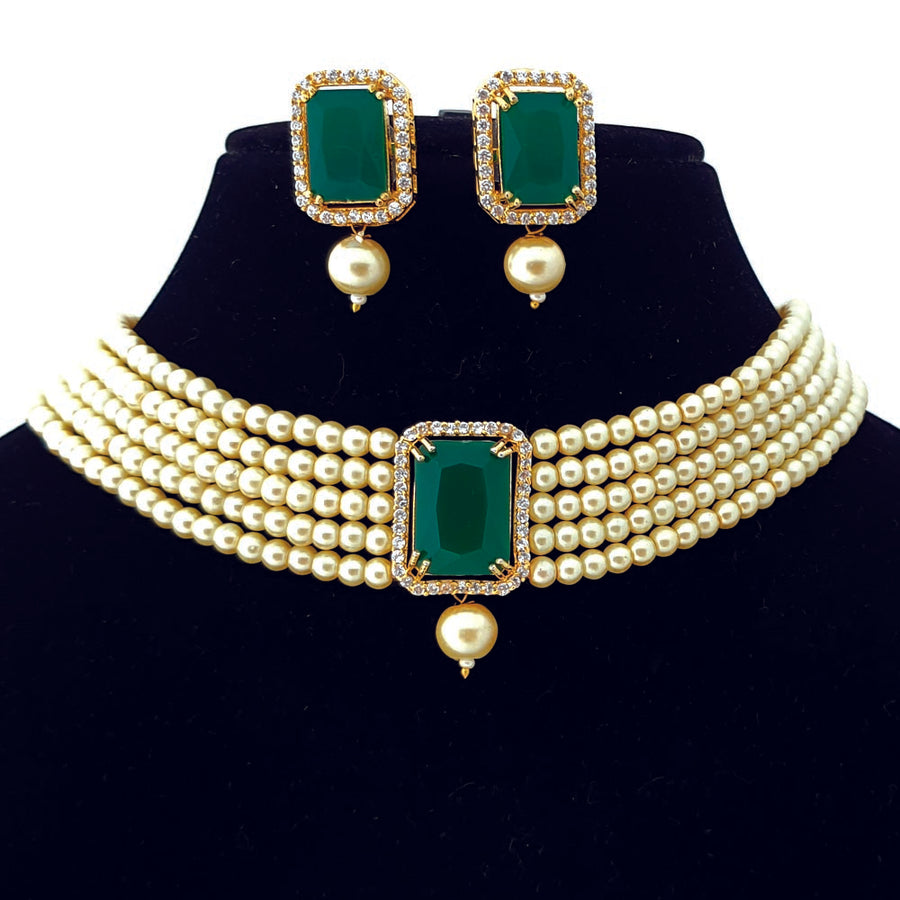 Simply Elegant Green Pearl Necklace - Adrisya