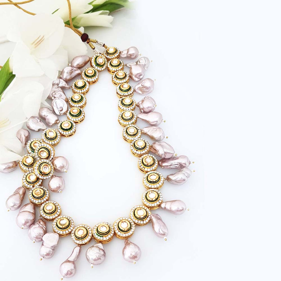 Lilac Pearl Necklace - Adrisya