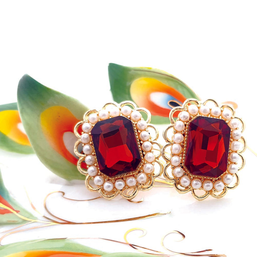 Orange Victorian Earrings - Adrisya
