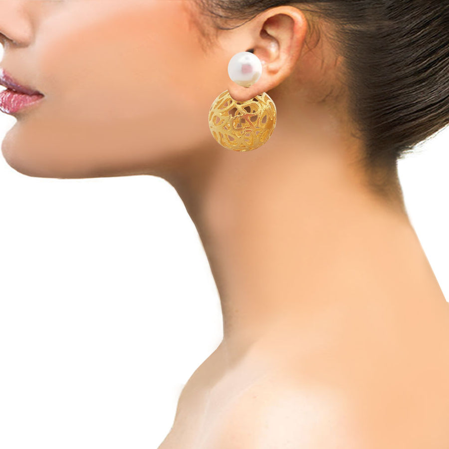 Paisley Double Sided Earring - Adrisya ,Earrings - Fashion Jeweley, Adrisya - Shabnam Bhojwani, Adrisya - Adrisya ,