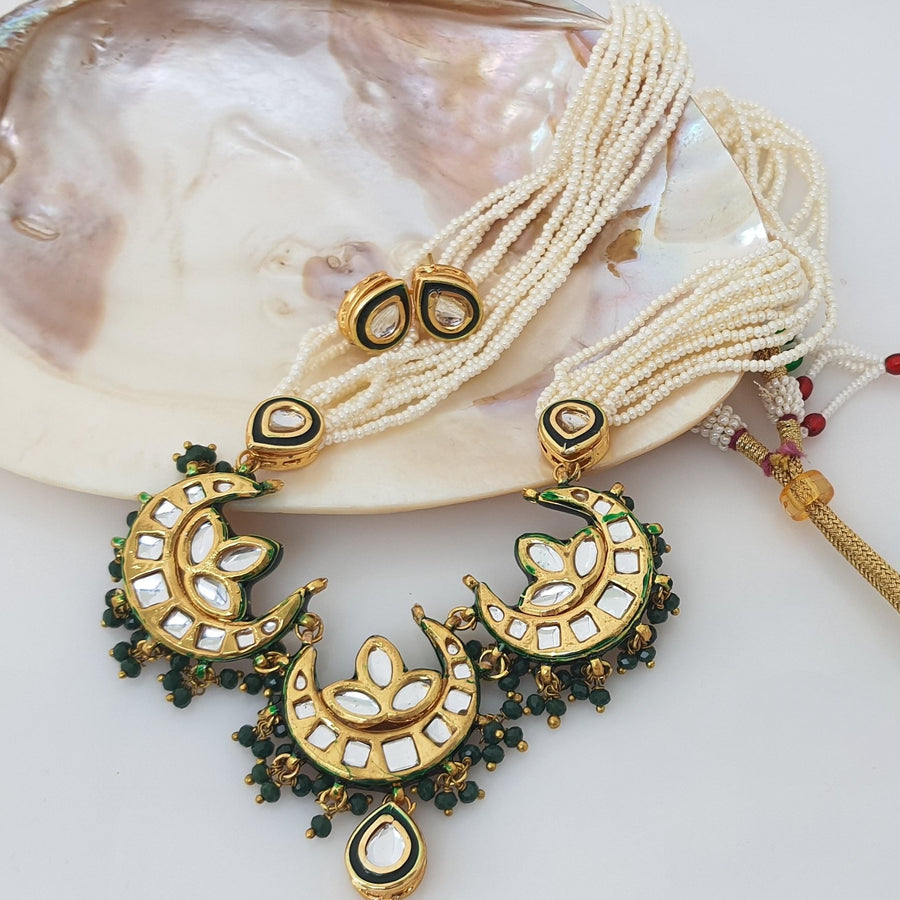 White Long Kundan Necklace