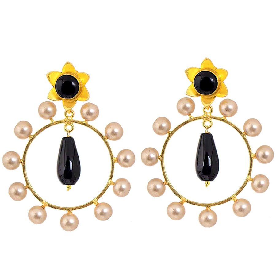 Flower Rhinestone Earrings - Adrisya ,Earrings - Fashion Jeweley, Adrisya - Shabnam Bhojwani, Adrisya - Adrisya ,