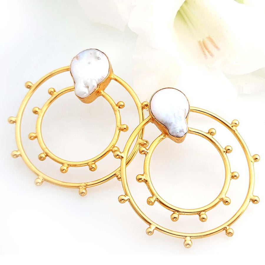 Paisley Hoop Earrings - Adrisya ,Earrings - Fashion Jeweley, Adrisya - Shabnam Bhojwani, Adrisya - Adrisya ,