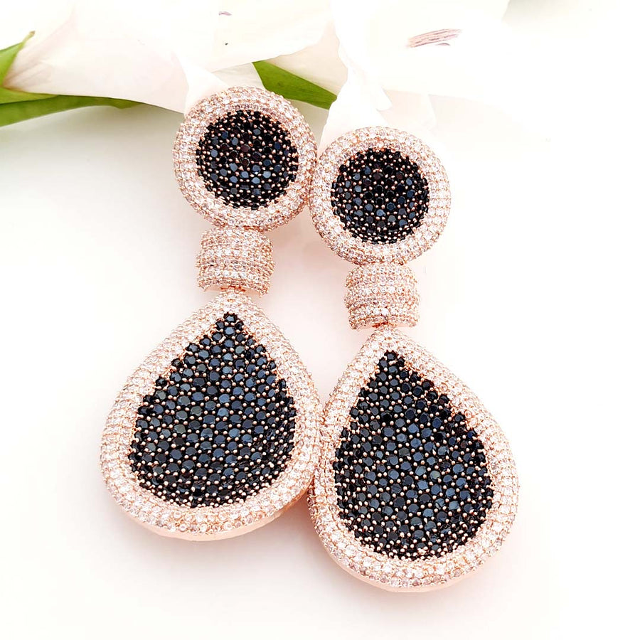 Rose and Black Dazzling Earrings
