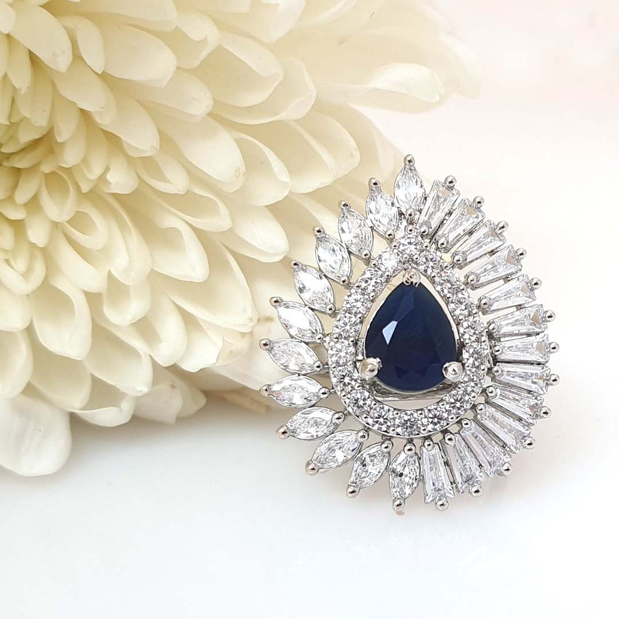 High-End Blue Cocktail Ring