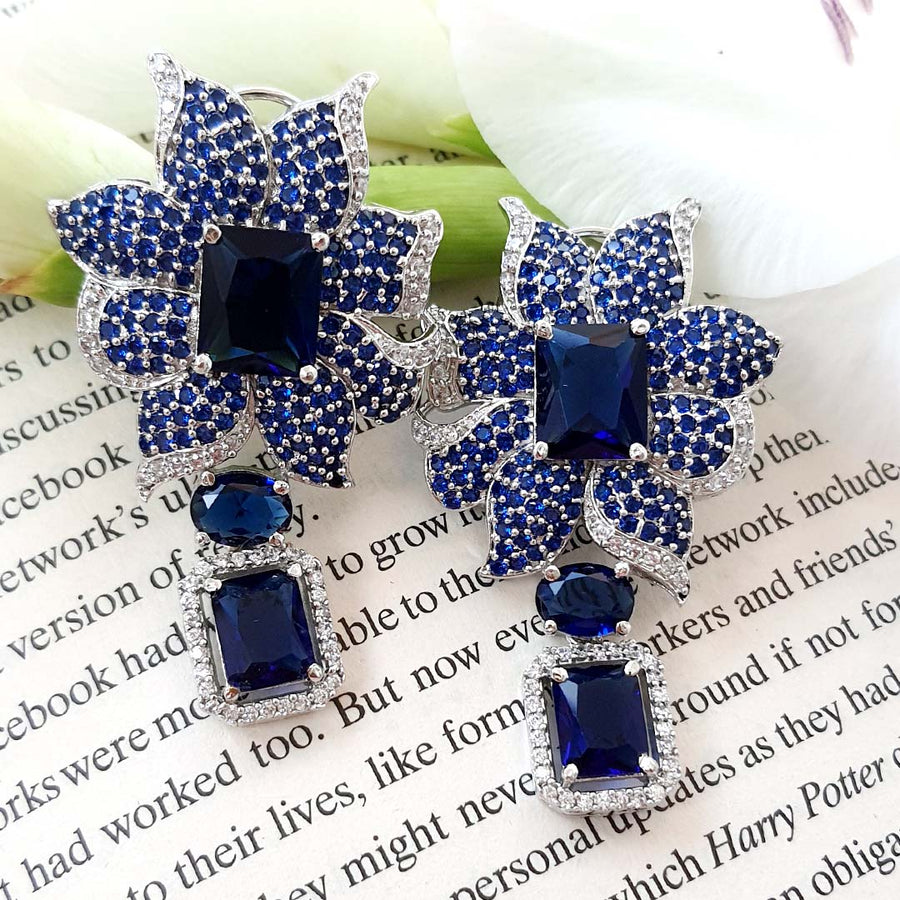 Nouveau Blue Earrings - Adrisya