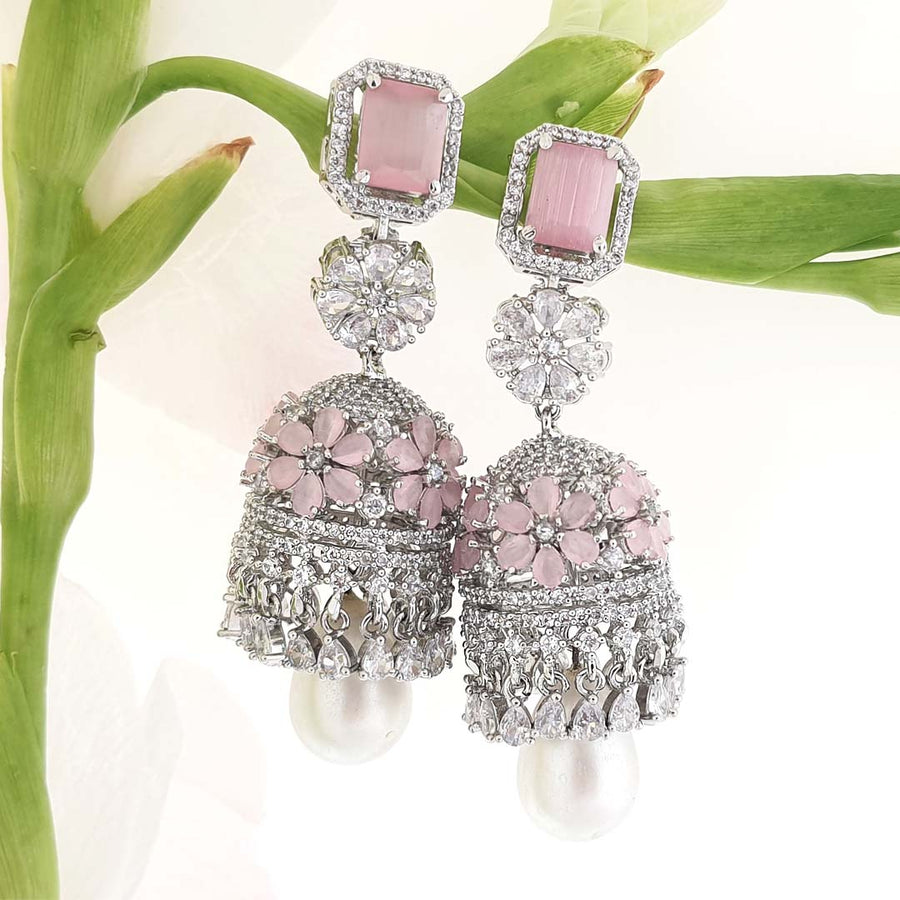 Baby Pink Jumkha Earrings