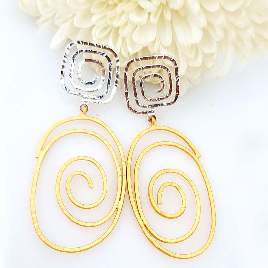 Artistic Dual Tone Earrings