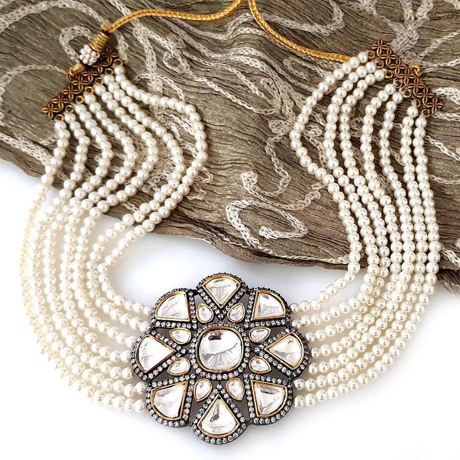 White Oxidized Kundan Necklace
