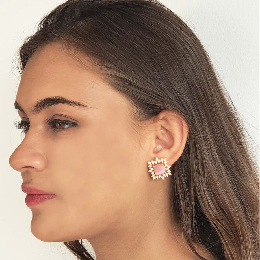 Baby Pink Delicate Earrings - Adrisya