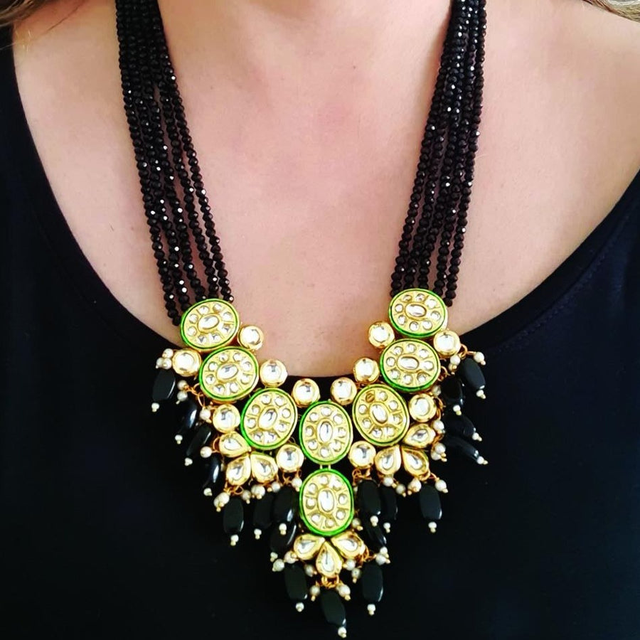 Black Ethnic Kundan Necklace