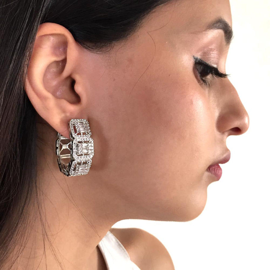 Luxurious Diamond Looking Hoops